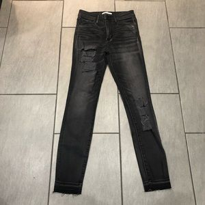 Abercrombie & Fitch Womens Jeans Black Grey Ripped